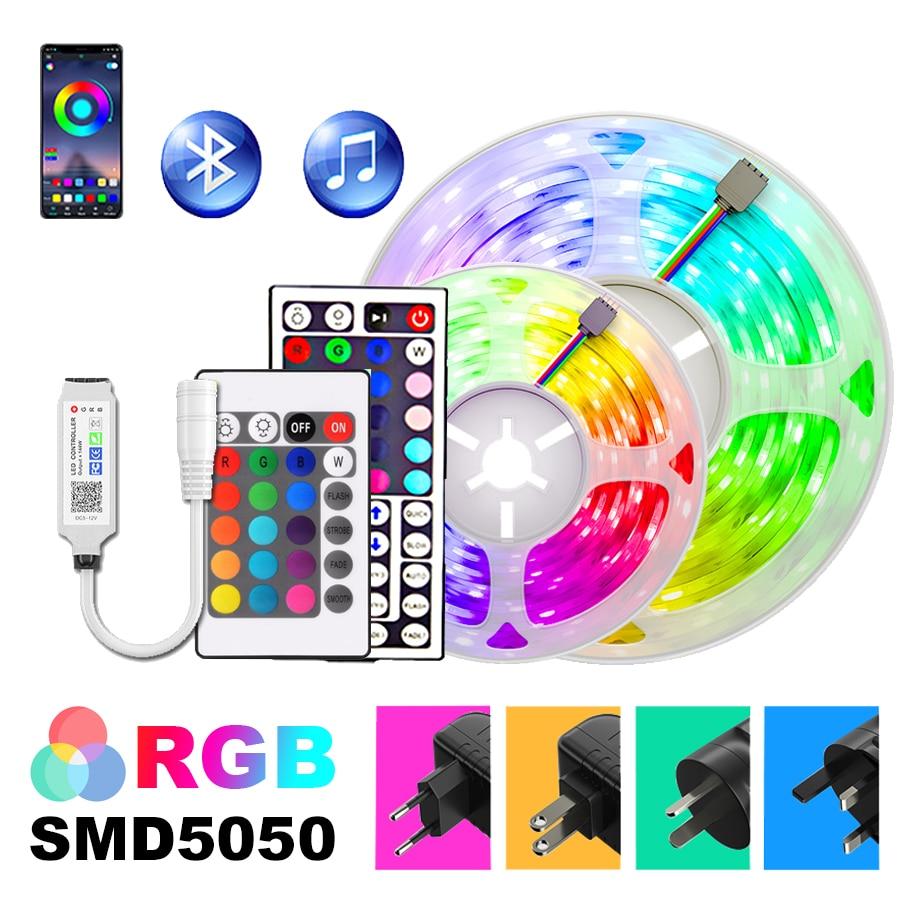 Listwy RGB Led światła 5m-30m APP kontroler 5050 LED DC12V elastyczna taśma wstążkowa wakacje dekoracyjne Luces u nas państwo lampy zestaw z adapterem