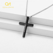 customize Free engraving Cross Necklaces Pendants Women Stainless Steel Gold Silver Black Prayer Choker Men Jewelry(China)