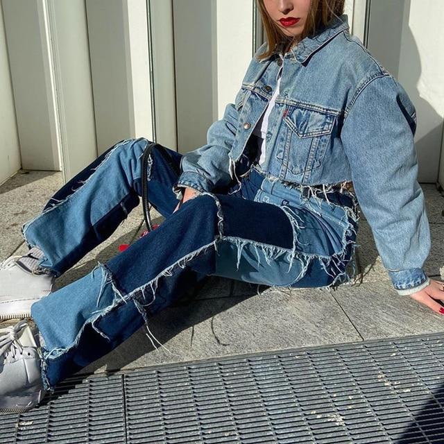 Spring Long Pants Color Jeans Women Wide Leg Pants Casual High Waist Patch Stitching Streetwear Botton Plus Size Women Pants 2