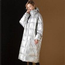 Зимнее пальто Wiomen, пуховик на утином пуху, плотная теплая длинная парка, Mujer Abrigos, модное яркое серебряное пальто, верхняя одежда, топы LX2541