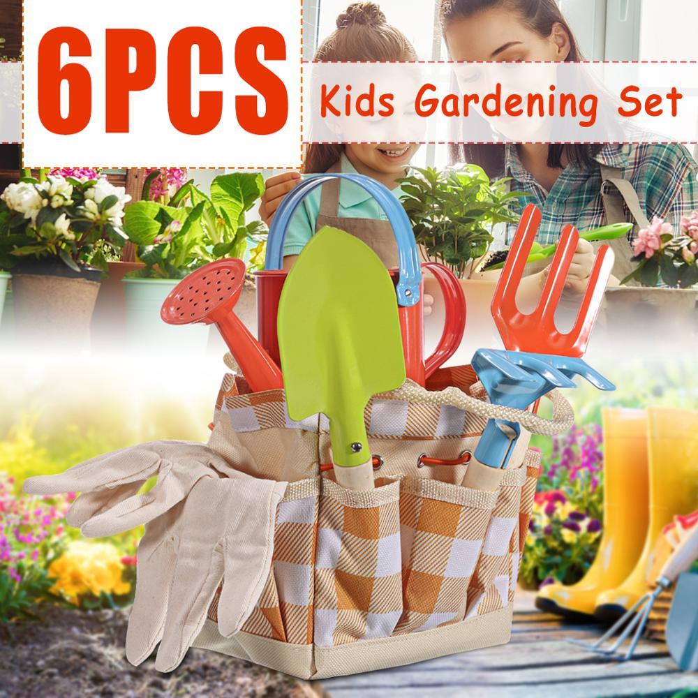 6pcs Kids Gardening Plant Tool Set Bag Gloves Watering Can Rake Fork Plastic