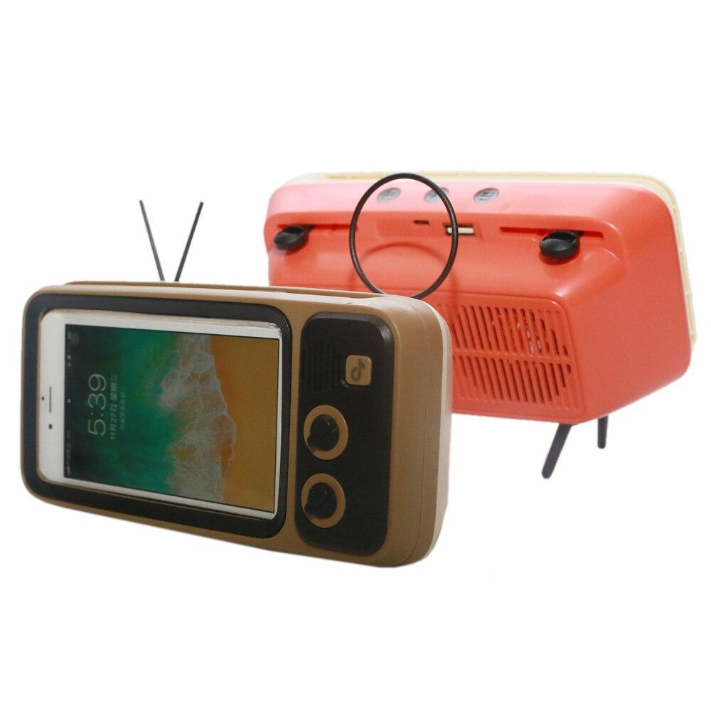 Retro TV Mobile Phone Holder Stand Portable Desktop Mount Bracket Phone Holder Retro TV Appearance For 4.7-6.5 Inch Phone