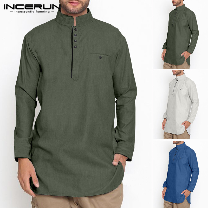 INCERUN Muslim Clothing Mens Shirt Stand Collar Long Sleeve Button Solid Vintage Cotton Long Shirts Men Indian Suit 2020