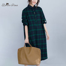 BelineRosa 2019 England Casual Style Plaid Long Blouse Dresses Autumn Season Loose Sleeve Plus Size Clothes JJDM0118