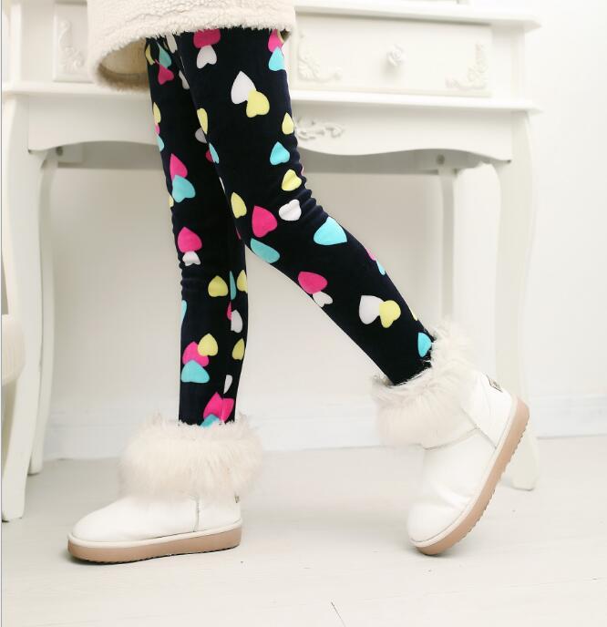 VEENIBEAR/осенне-зимние штаны для девочек, бархатные плотные теплые леггинсы для девочек, детские штаны, одежда для девочек на зиму, От 2 до 7 лет - Цвет: 5caiaixing