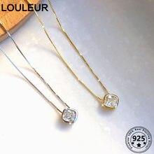 Louleur Einfache 925 Sterling Silber Halskette Platz Zirkon Anhänger Halskette Für Frauen Silber 925 Feine Schmuck Charms Alle-Spiel