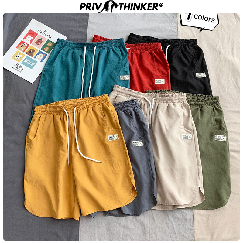 Privathinker Solid Color Summer Shorts 2020 Korean Style Man Casual Oversize Short Pants Streetwear Male Sweatpants 5XL