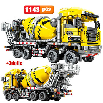 703941 BLOCK City Engineering Bulldozer Crane Technic Car Truck Excavator Roller Building Blocks bricks Constructon Toys lepin 20025 760pcs technic the red engineering excavator set building blocks bricks model toys christmas gifts compatible 8294
