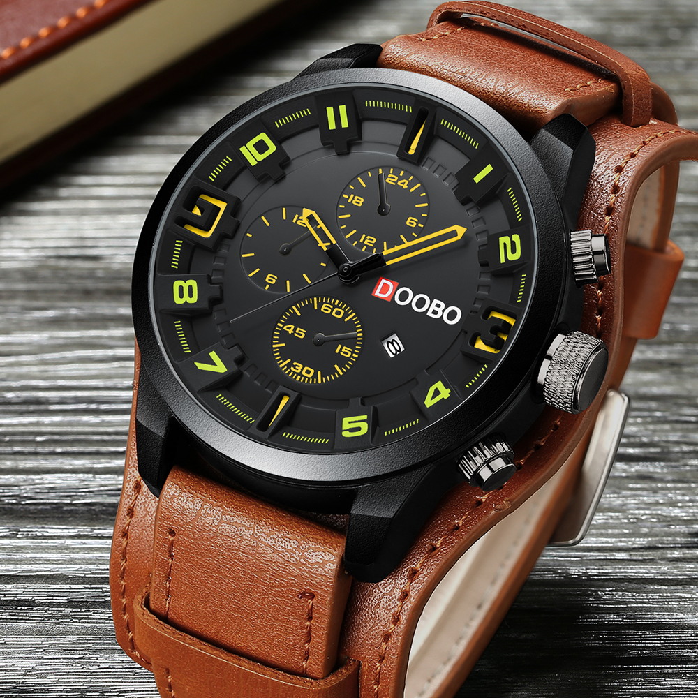 New 8225 Men Military Sport Quartz Watches Mens Brand Luxury Leather Strap Waterproof Male Clock Wristwatch Relogio Masculino