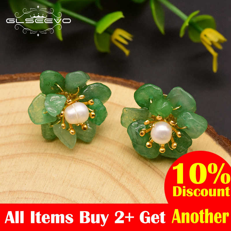 GLSEEVO Natural Jade Pearl Stud Earrings For Women Mom Birthday Day Gift 925 Sterling Silver Flower Earring Fine Jewelry GE0780