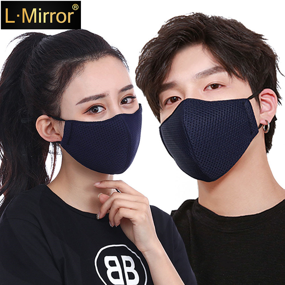 L.Mirror 1Pcs Fashion Mouth Mask Unisex Summer Sunscreen Breathable Thin Mesh Cotton (Black/Gray/Blue)