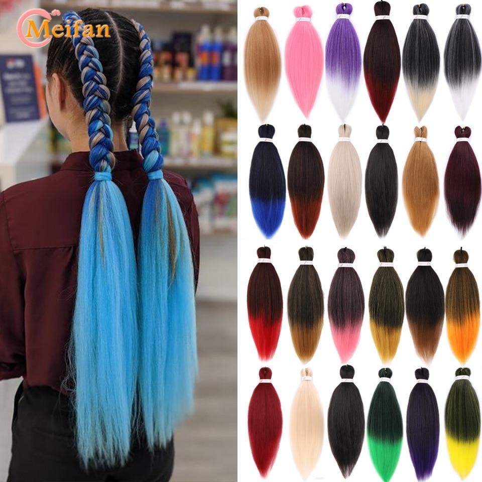 MEIFAN Synthetic Easy Jumbo Braids Black Ombre Pink Purple Kanekalon Braiding Hair Crochet Stretched Braiding Hair Extensions