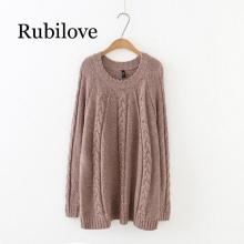 Rubilove Autumn Winter Casual Sweaters 5XL Plus Size Women Clothing Fashion Loose knitting Pullovers