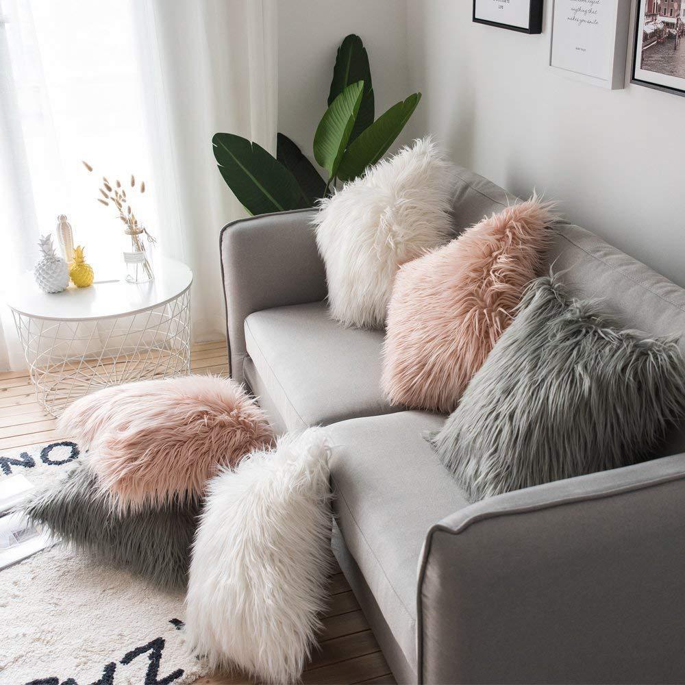 Мягкий меховой плюшевый чехол для подушки, Наволочки для домашнего декора, наволочки для гостиной, спальни, дивана, декоративная наволочка ...