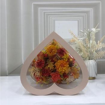 Heart-Shaped Panoramic Window PVC Love Box Giant Flower Pot Boquet Holder Box Rose Flower Packaging Transparent Box
