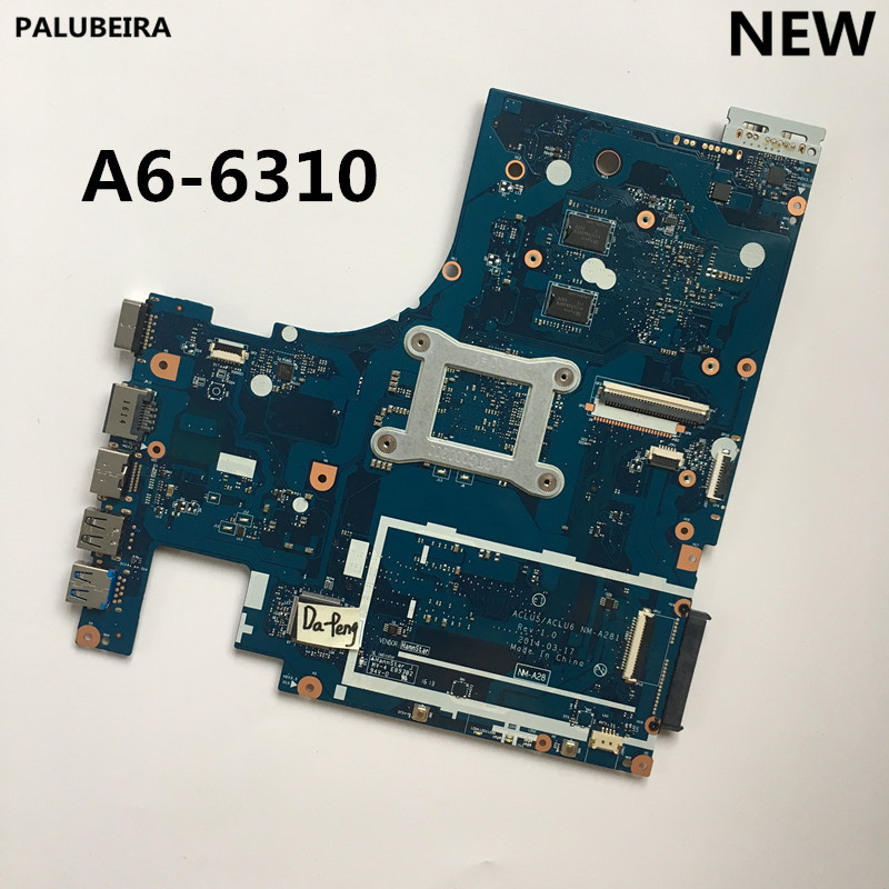 PALUBEIRA NEW For Lenovo Ideapad G50-45 Laptop Motherboard 15 Inch ACLU5 ACLU6 NM-A281 WITH A6-6310U CPU Onboard DDR3 100% Test