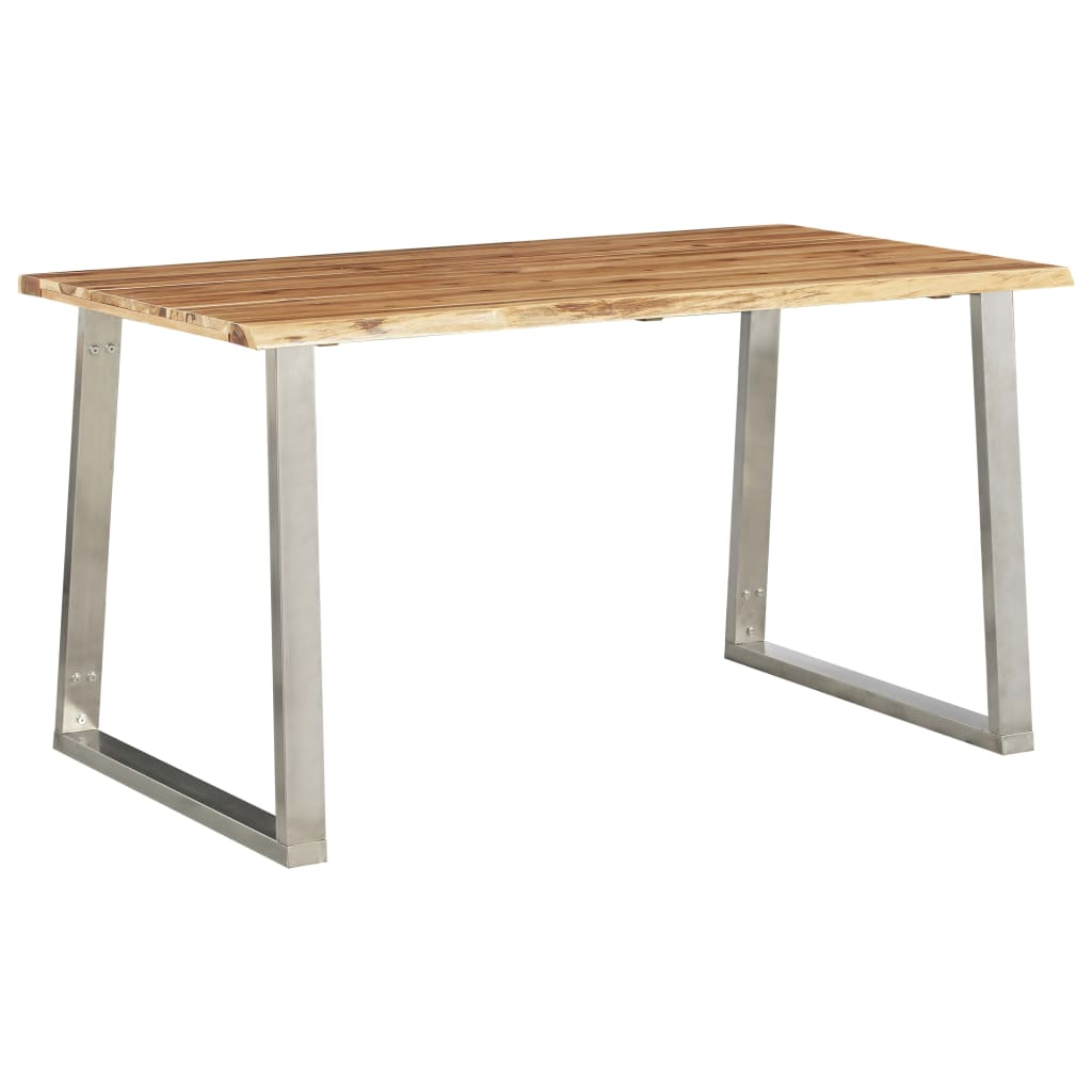 VidaXL Dining Table 140x80x75 Cm Solid Acacia Wood And Stainless Steel