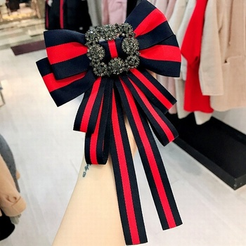 Korean Vintage Big Fabric Bow Tie Brooches for Girl Women Fashion Stripe Cloth Shirt Corsage Neck Tie Wedding Party Accessories 2019 fashion classic striped rhinestone bow tie for women cloth art pearl luxury fabric bowties dress shirt clothing accessories