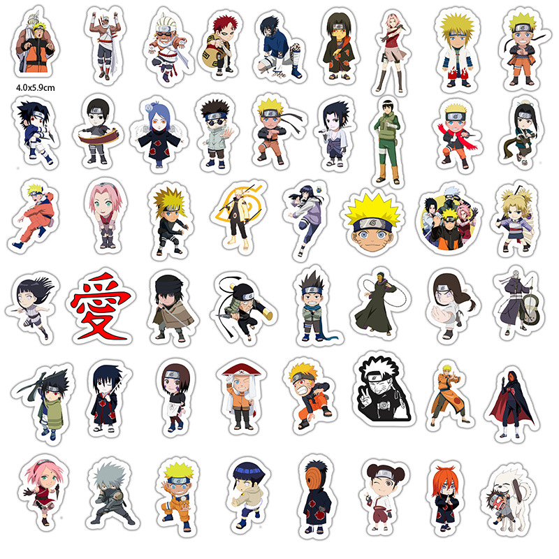 50Pcs Naruto Anime Stickers Doodle Does Not Repeat The Individuality Sheet Car Motorcycle Draw Bar Box Cartoon Sticker Toy