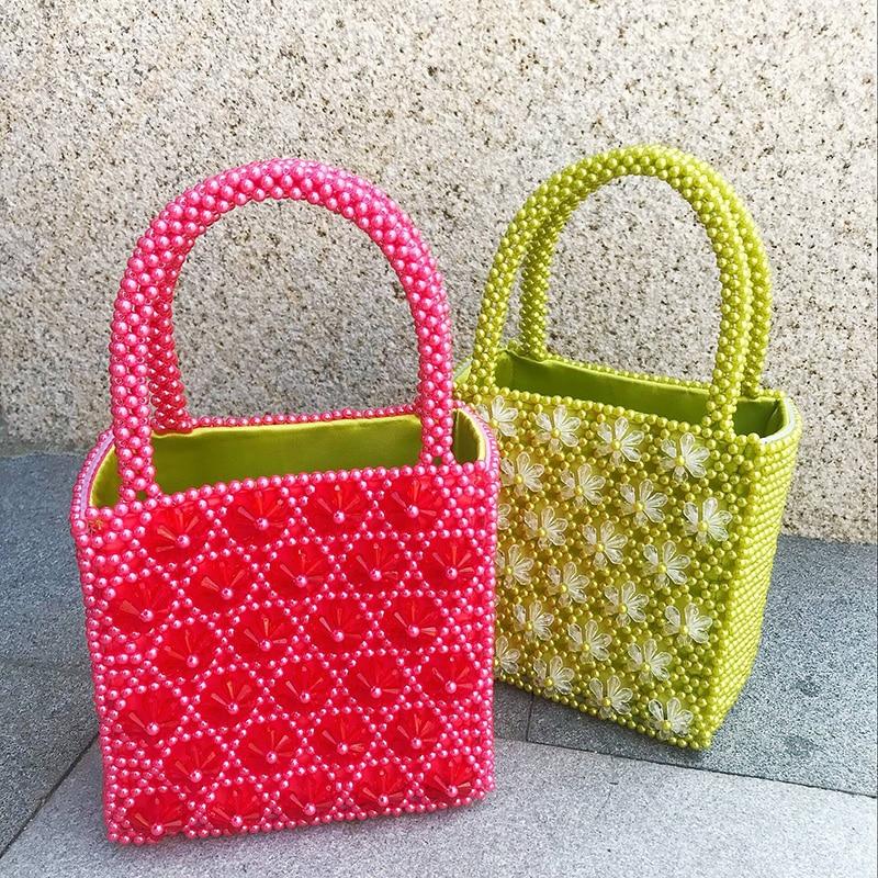 Customized Color Beaded Flower Six Petals Woven Pearl Large Handbag Bead Bag