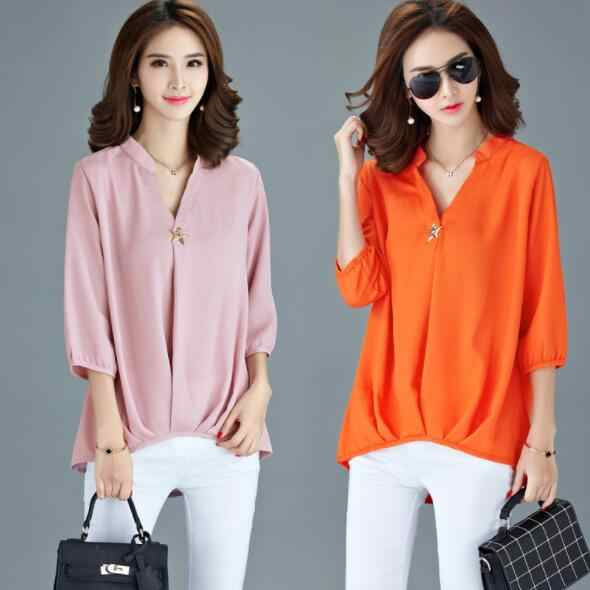 Orange Chiffon Blouse Shirts Women 2020 Long Sleeve Spring Summer Womens Tops And Blouses Laides Plus Size tops DV338