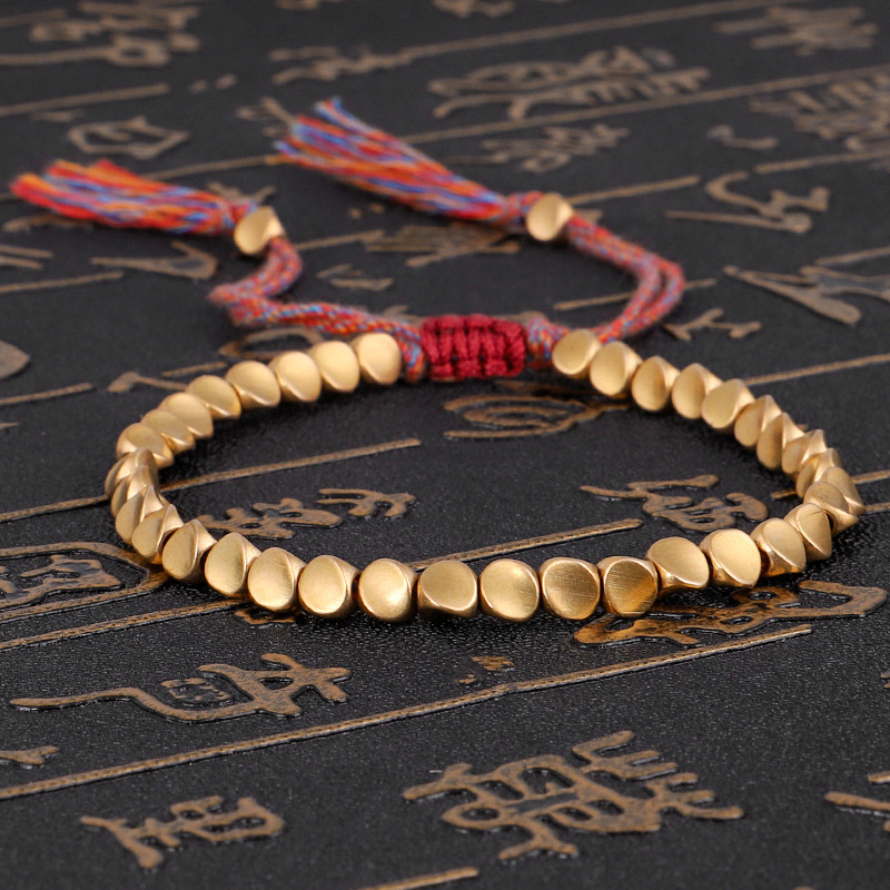 Handmade Tibetan Buddhist Braided Cotton Copper Beads Lucky Rope Bracelet & Bangles For Women Men Thread Bracelets 1