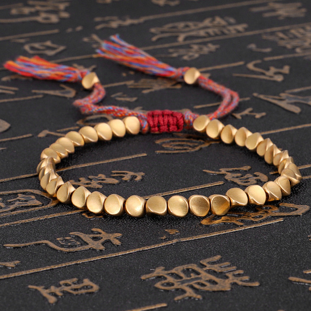 Handmade Tibetan Buddhist Braided Cotton Copper Beads Lucky Rope Bracelet & Bangles For Women Men Thread Bracelets 1
