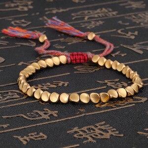 Handmade Tibetan Buddhist Braided Cotton Copper Beads Lucky Rope Bracelet & Bangles For Women Men Thread Bracelets(China)