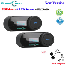 FreedConn TCOM SC Bluetooth motorfiets interphone headset helm intercom LCD scherm met FM radio + zacht oortje