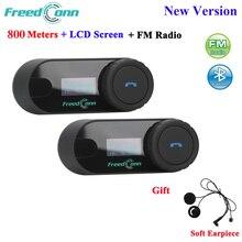 FreedConn TCOM SC Bluetooth motosiklet interkom kulaklık kask interkom LCD ekran FM radyo + yumuşak kulaklık