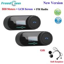 FreedConn TCOM SC 블루투스 오토바이 인터폰 헤드셋 헬멧 인터콤 LCD 화면 FM 라디오 + 부드러운 이어폰