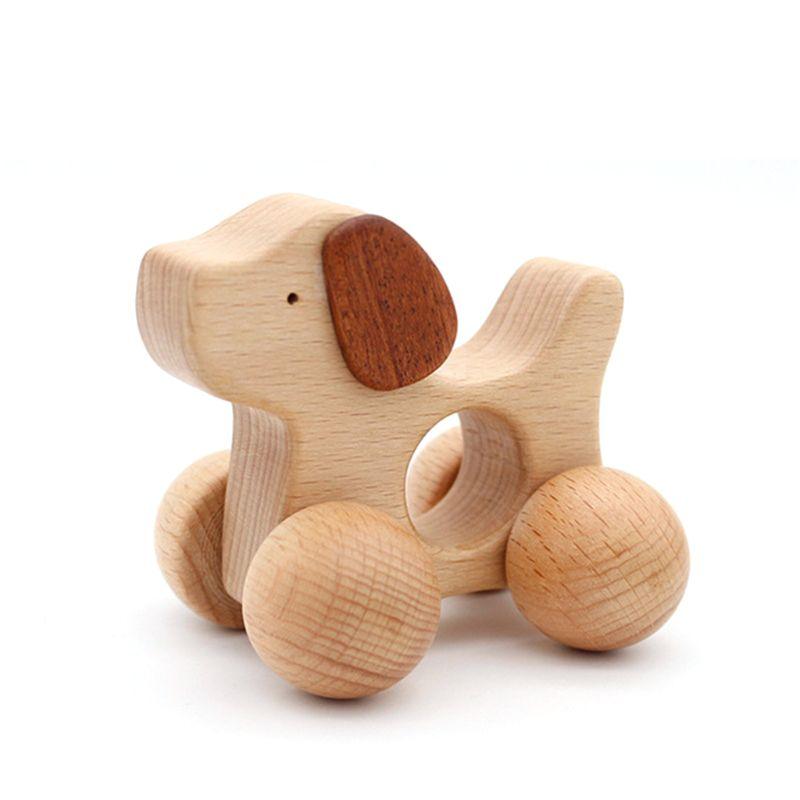 3 stücke Push scroll Holz Baby Pferd und Hund Spielzeug Auto Set für Kleinkinder 1 jahr alt - 2