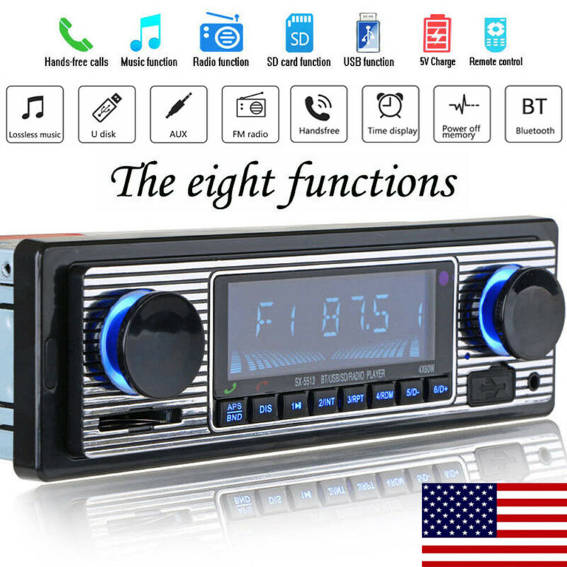 2019 Hot Vintage Car Bluetooth Radio MP3 Player Stereo USB/AUX Classic Stereo Audio FM Radio Remote Control Retro Multi Player