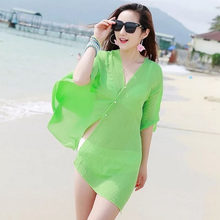 Musim Panas Hot Sale Fashion Beachwear Swimsuit Beach Cover-Up Wanita Chiffon Bikini Cover Up Dress Berenang Memakai(China)