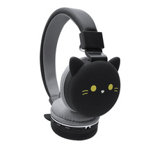 Auriculares inalámbricos Bluetooth bonitos Oreja de Gato para niños y niñas auriculares plegables estéreo montados en la cabeza con micrófono compatible con NFC FM