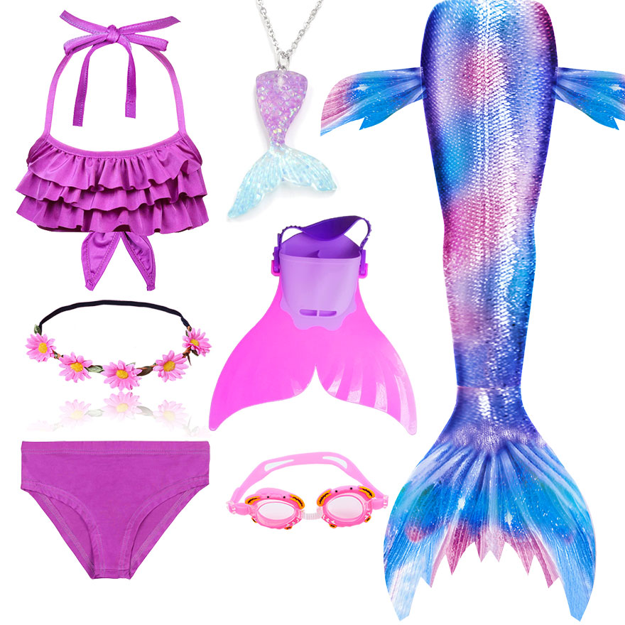 H8b4de92e55e94c388b0da99cbbebc028V - Kids Swimmable Mermaid Tail for Girls Swimming Bating Suit Mermaid Costume Swimsuit can add Monofin Fin Goggle with Garland