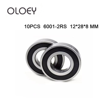 10PCS ABEC-5 6001-2RS 6001 2RS 6001RS 6001 RS 180101 RS 12x28x8 mm Rubber seal High quality Deep Groove Ball Bearing 6001-2RSH image