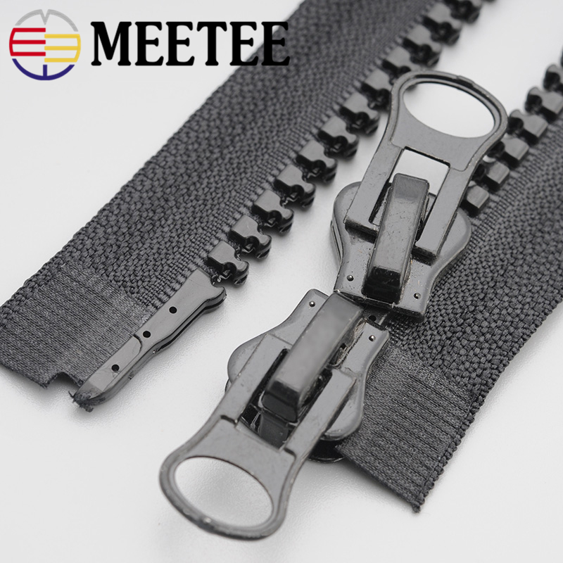 2pcs Meetee 8# Resin Zipper 60-200cm Double Sliders Down Jacket Coat Tent Awning Open End Zippers Sewing Clothing Accessories