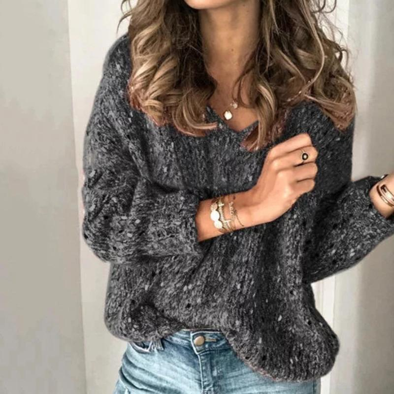 Fashion Women Sweater Autumn V Neck Long Sleeve Sweater Knitted Pullovers Casual Solid Knitwear Basic Tops Pull Femme Jumper