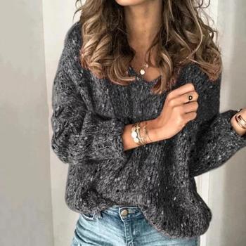 Γυναικείο πουλόβερ με V λαιμόκοψη Γυναικείες Μπλούζες Ρούχα MSOW