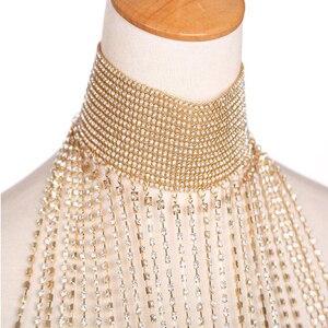 Image 5 - Роскошное стразы, свадебное ожерелье ручной работы с хрустальным хрусталем через плечо, имитация женского конкурса, ювелирные изделия для вечеринки и выпускного вечера, бижутерия