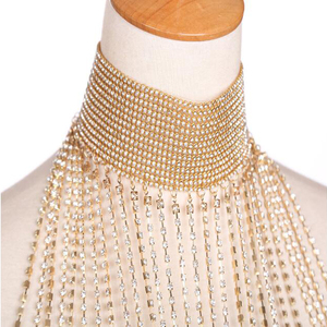 Image 5 - Luxe Rhinestone Crystal Bridal Handgemaakte Bruiloft Schouder Halter Ketting Imitatie Vrouwen Pageant Party Prom Sieraden Bijoux