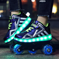 2019 Luminous Shoes Multi purpose Skating Straight Row Men and Women Children Hidden Skating Belt Dual use Sports Heely Shoes