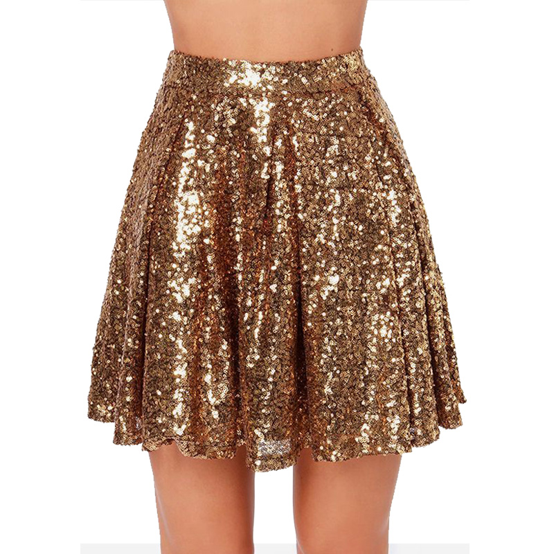 Fashion Sexy Gold Sequin Skirt 2020 WF0003 Spring Summer Women Ladies Short Mini Pleated Glitter Skirt
