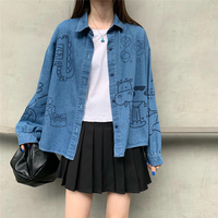 New Autumn Clothes Denim Blue Shirt Female Harajuku Cute Cartoon Blouse Super Kawaii Long Sleeve Women Shirt Casual Tops