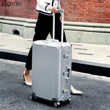 Travel Suitcase Spinner Trolley Rolling-Luggage Aluminum-Frame Carry On Women KLQDZMS