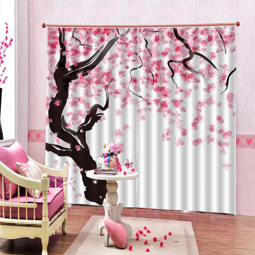 Rose fleur arbre fenêtre rideaux 3d numérique imprimé photo de mariage rideaux occultants rideaux