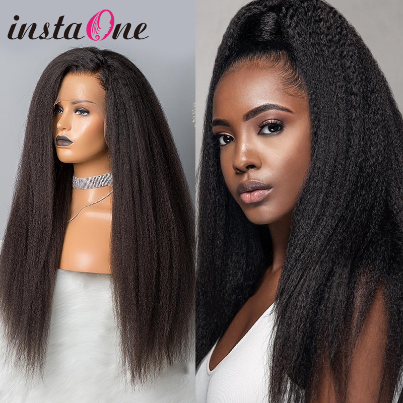 28 30 Inch 360 Lace Frontal Wig Kinky Straight Brazilian Yaki Lace Front Human Hair Wigs Pre Plucked For Black Women Remy Hair