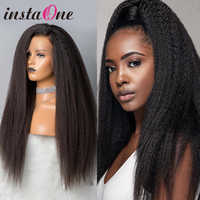 8- 30 Inch Long 13x4 360 Lace Frontal Wig Kinky Straight Brazilian Yaki Lace Front Human Hair Wigs For Black Women #1b Remy Hair