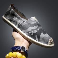 New Designer Camouflage Canvas Flats Shoes Men Fashion Slip